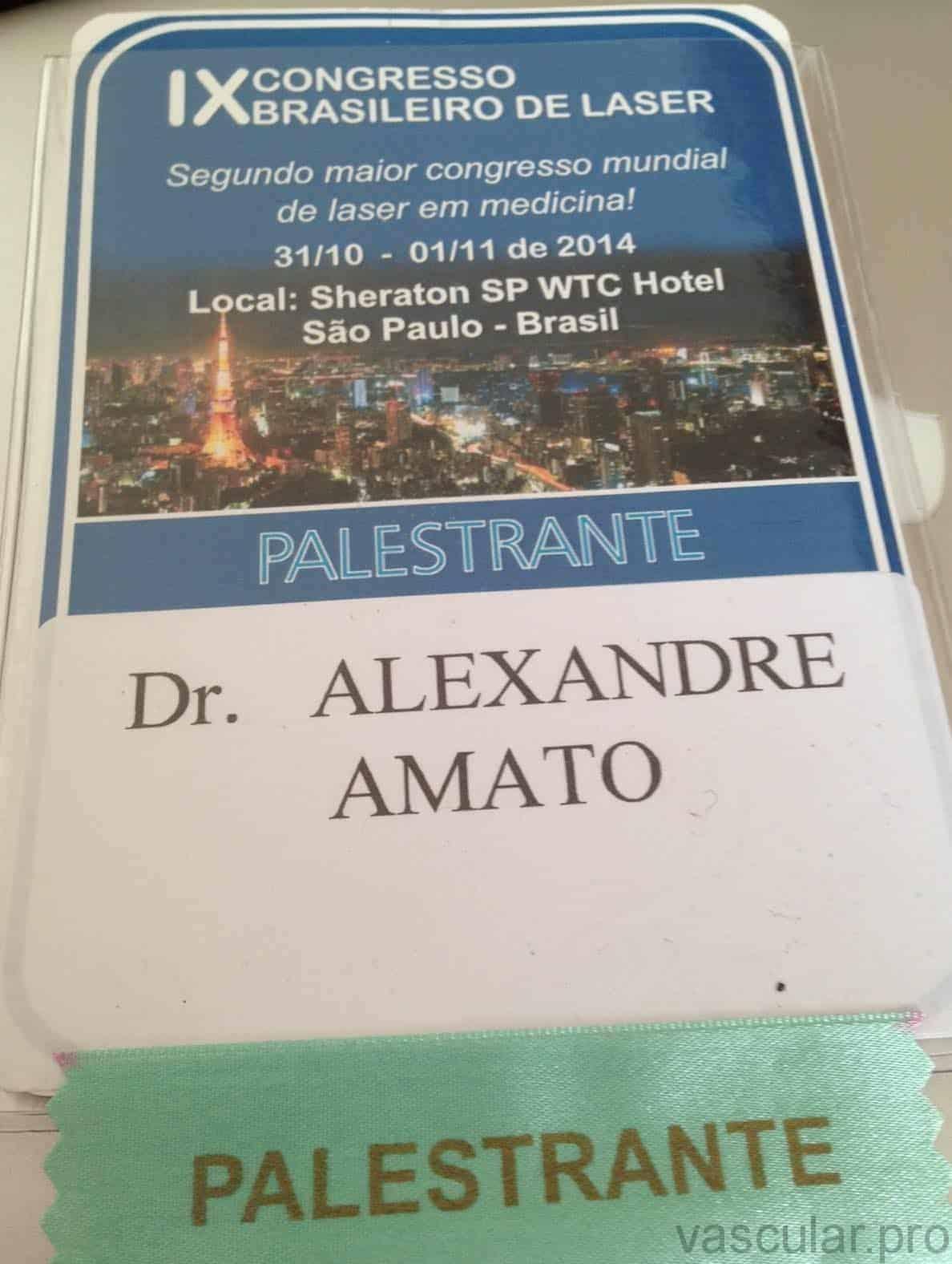 Palestrante no Congresso Brasileiro de Laser, aula sobre varizes