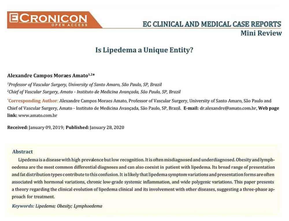 Artigo publicado em revista internacional: Is Lipedema a unique entity?<span class=