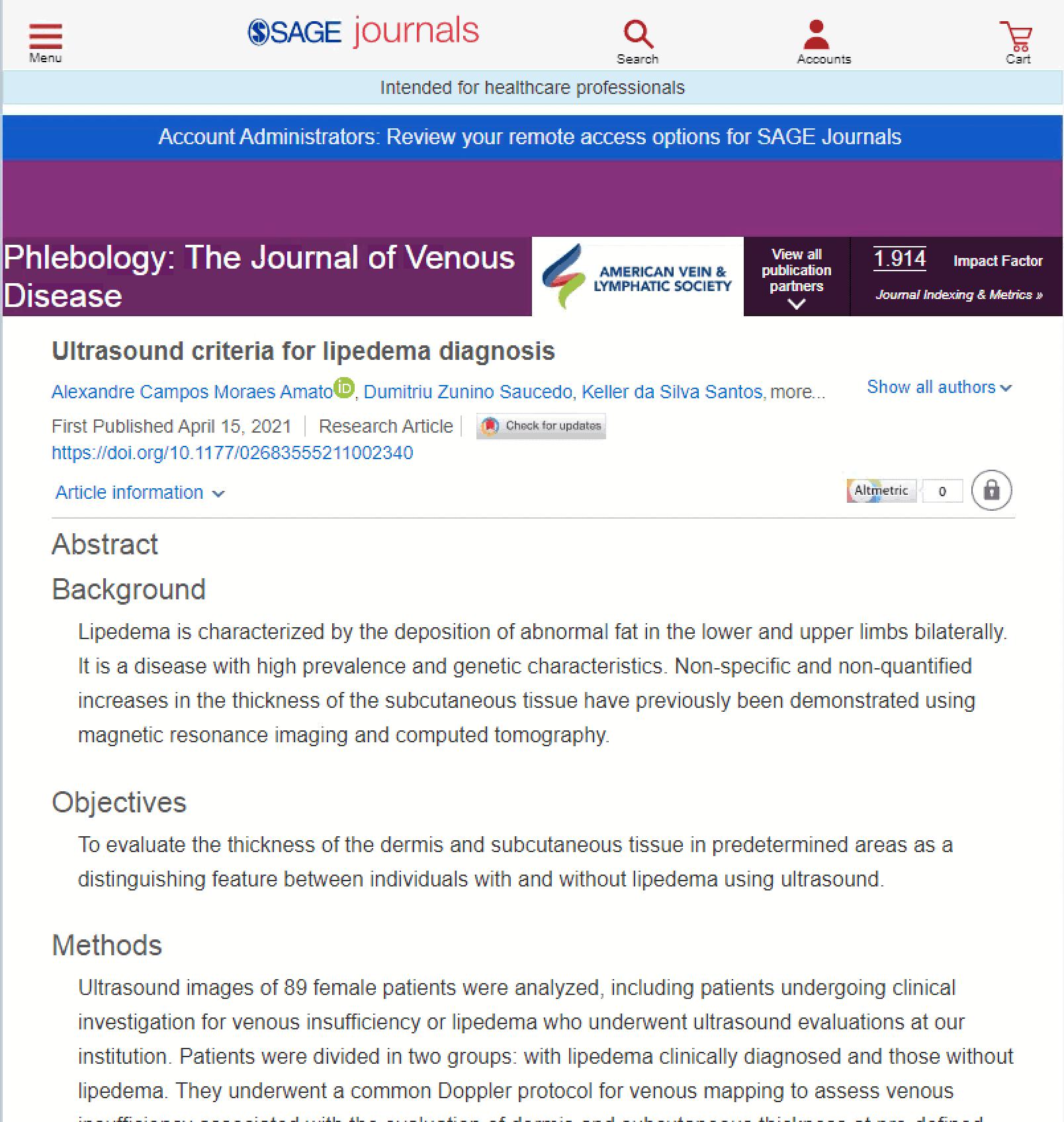 Equipe do Instituto Amato/Vascular.pro publica o primeiro protocolo ultrassonográfico do mundo para diagnóstico do lipedema<span class=
